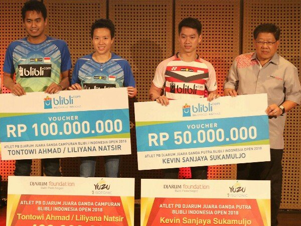 Juara Indonesia Open, PB Djarum Apresiasi Prestasi Tontowi, Liliyana dan Kevin Sanjaya