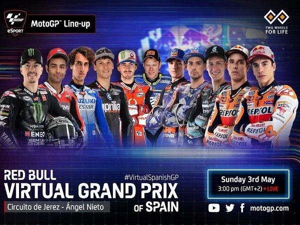 Susunan Pebalap MotoGP, Moto2 dan Moto3 dalam Virtual Grand Prix Spanyol
