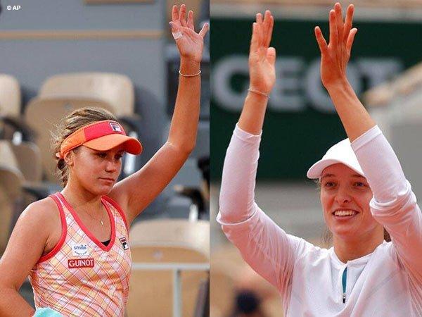 Sofia Kenin [kiri] dan Iga Swiatek [kanan] siap beraksi di final French Open 2020