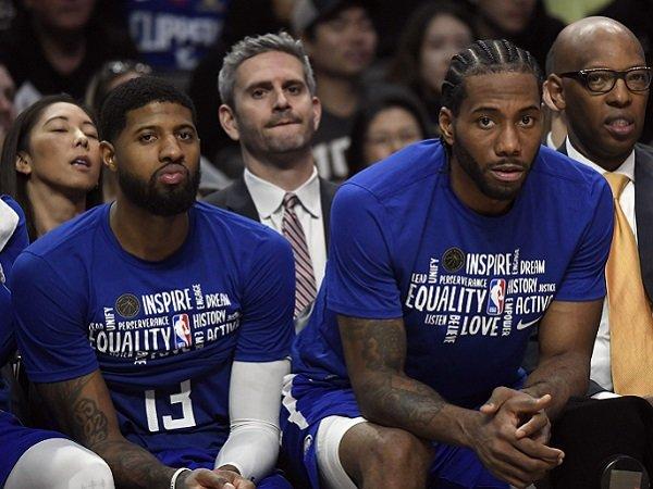 Dua pemain andalan Los Angeles Clippers, Paul George dan Kawhi Leonard.