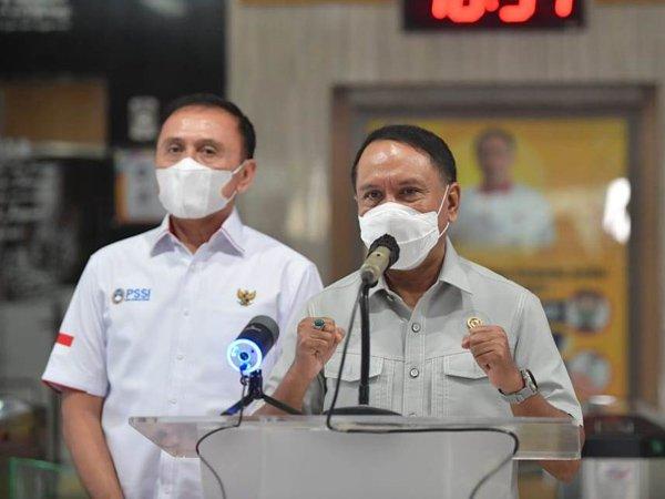 Menpora RI Zainudin Amali saat melakukan konferensi pers usai menerima PSSI