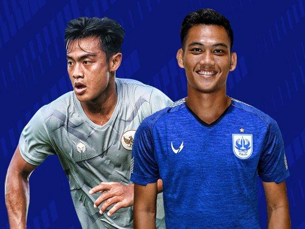 Dua pemain PSIS Semarang, Arhan Alif Rifai dan Tegar Infantrie Sukamto