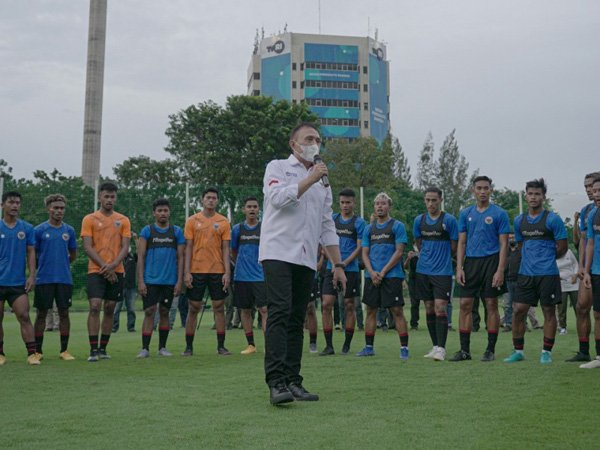 Ketum PSSI Mocahmad Iriawan saat hadir pada TC timnas Indonesia proyeksi SEA Games