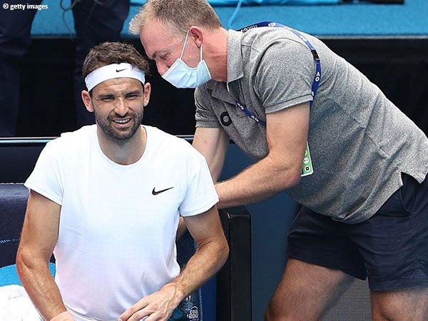 Grigor Dimitrov alami cedera sebelum turun di perempatfinal Australian Open 2021