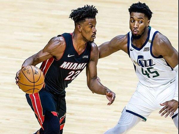 Bintang Miami Heat, Jimmy Butler saat berduel dengan Utah Jazz. (Images: NBAE)