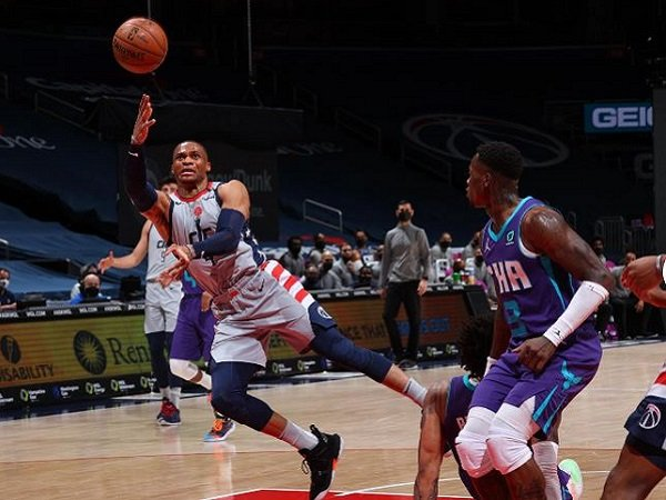 Point guard Washington Wizards, Russell Westbrook saat melawan Charlotte Hornets. (Images: Getty)