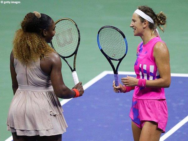 Victoria Azarenka [kanan] kalahkan Serena Williams [kiri] di semifinal US Open 2020