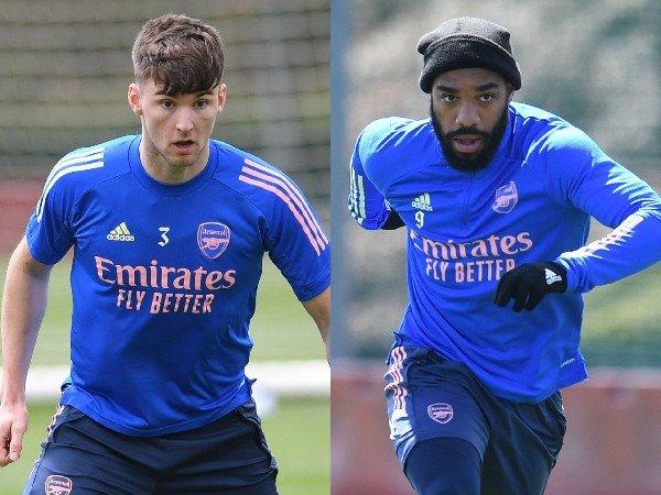 Alexandre Lacazette dan Kieran Tierney kembali berlatih jelang laga kontra Villarreal