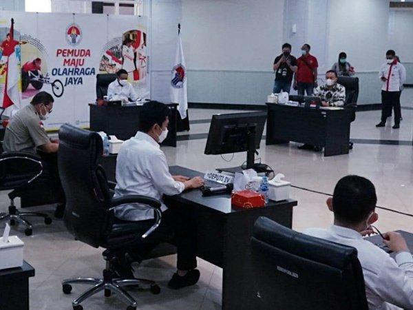 Rapat koordinasi antara PSSI dan Menpora terkait Liga 1 dan Liga 2
