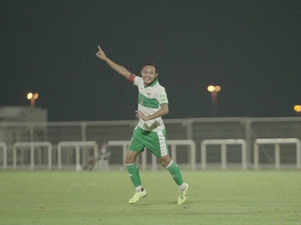 Evan Dimas saat mencetak gol bersama timnas Indonesia