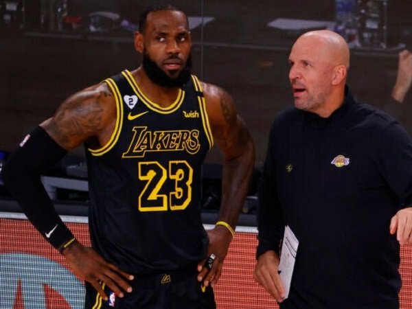 Asisten pelatih Los Angeles Lakers, Jason Kidd bersama LeBron James.