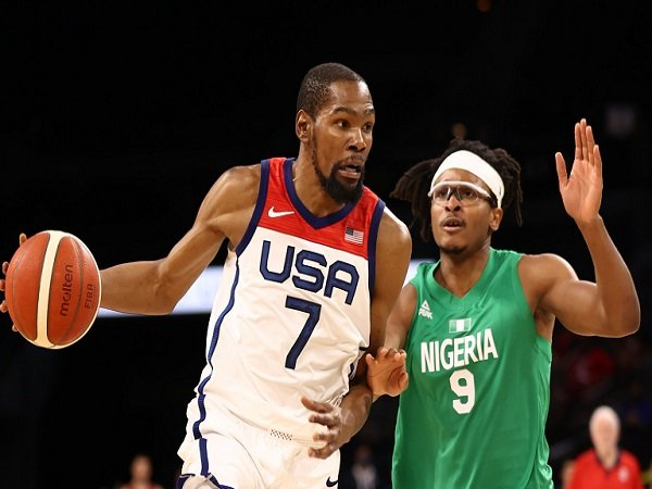Pemain TIm Basket Amerika Serikat, Kevin Durant saat melawan Nigeria.