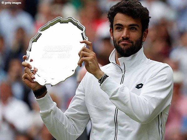 Reaksi Matteo Berrettini usai cicipi final Grand Slam pertama dalam kariernya di Wimbledon 2021