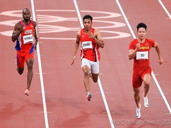 Lalu Muhammad Zohri (tengah) ketika sedang berlomba. (Images: NOC)