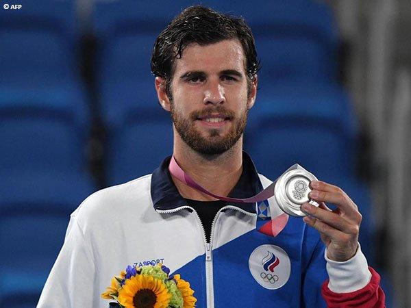 Reaksi Karen Khachanov usai kantongi medali perak Olimpiade Tokyo