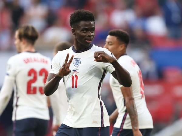 Bukayo Saka merayakan golnya ke gawang Andorra