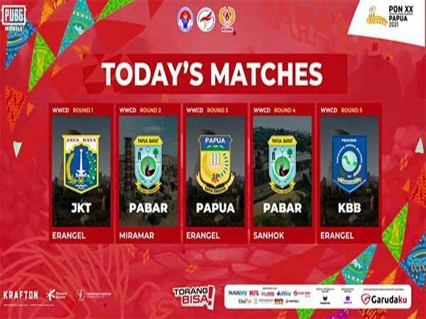 Day 1 Final PUBG Mobile PON XX Papua 2021: Papua Barat Sabet Dua WWCD