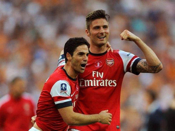 Olivier Giroud dan Mikel Arteta saat bersama di Arsenal
