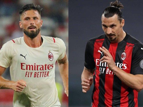 Striker Milan Olivier Giroud dan Zlatan Ibrahimovic