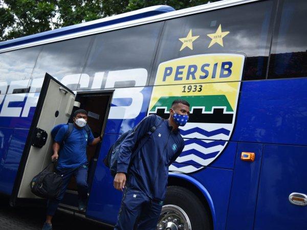 Pemain Persib ketika tiba di Yogyakarta